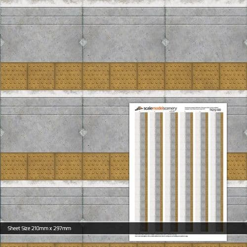 TX212-OO Network Rail Platform Edge Coping With Buff Tactile Paving (Pack of 5) OO/4mm/1:76
