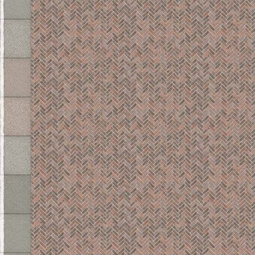 TX229-OO Herringbone Red Brick Platform Texture Sheets With Concrete Coping ( Pk of 5) OO/4mm/1:76