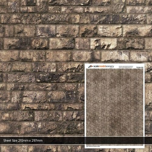 TX245-OO Light Weathered Random Ashlar Brick Paper Texture Sheets (Pack of 5) OO/4mm/1:76