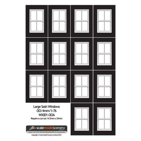 WX001-OO Large Sash Window Sheet OO/4mm/1:76