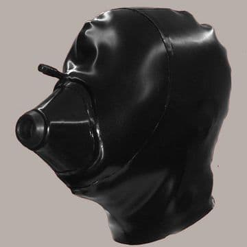 Latex Hood with Medical Mask for Breath Play