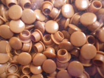 50 Light Brown Plastic 8mm Kitchen Cabinet Hole covers Caps