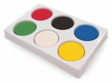 6 Large Water Colour Paint Blocks in a Strong 6 Well Palette childrens craft