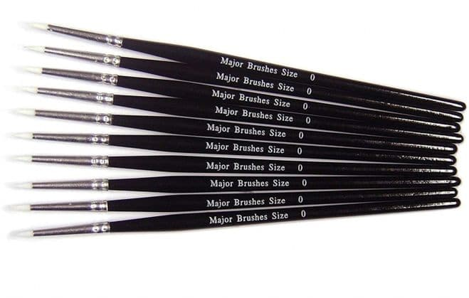 Pack of 10 White Synthetic Sable Substitute Size 0 Round Brushes, Black Handle