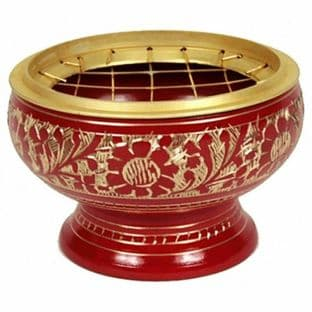 Brass Incense Burner for Charcoal, Resin, Cones, and Incense Sticks (RED)