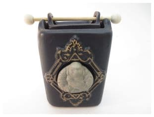 Feng Shui Ceramic black oil burner with a stone Buddha on the front
