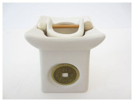 Feng Shui Ceramic white oil burner with a lucky coin on the front