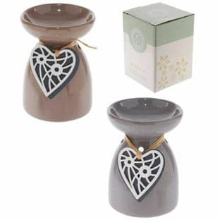 Puckator Ceramic Hanging Heart Burner . Available in Brown or Grey
