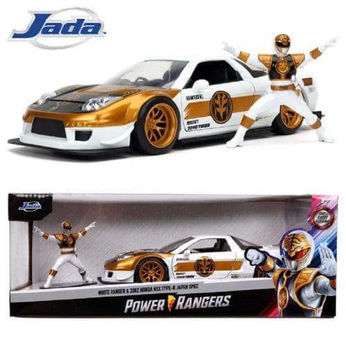 2002 HONDA NSX TYPE-R JAPAN SPEC 1:24 DIECAST CAR WITH WHITE POWER RANGER FIGURE FROM JADA TOYS