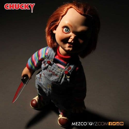 "CHILD'S PLAY 15"" MEGA SCALE SNEERING EVIL FACE TALKING CHUCKY FROM MEZCO TOYZ"