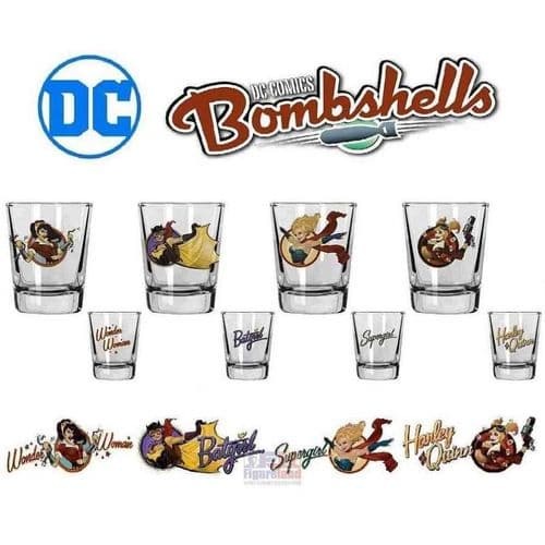 DC COMICS BOMBSHELLS SET OF 4 SHOT GLASSES FROM SD TOYS