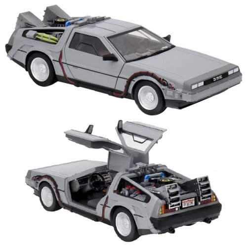 "BACK TO THE FUTURE DELOREAN TIME MACHINE 10"" DIE CAST VEHICLE FROM NECA"