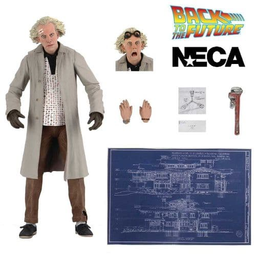 "BACK TO THE FUTURE ULTIMATE DOC BROWN 7"" SCALE ACTION FIGURE FROM NECA"