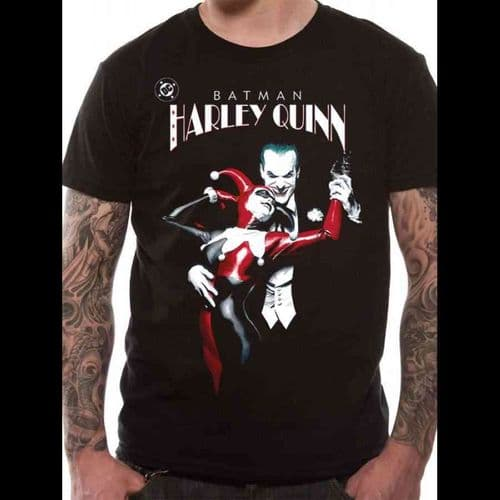 BATMAN - HARLEY QUINN AND JOKER - UNISEX T-SHIRT - BLACK