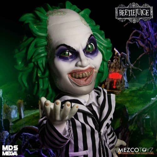 "BEETLEJUICE 15"" MEGA SCALE TALKING ACTION FIGURE FROM MEZCO TOYZ"