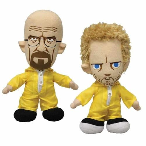 "BREAKING BAD 8"" PLUSH  WALTER AND JESSE IN YELLOW HAZMAT SUITS FROM MEZCO TOYZ"