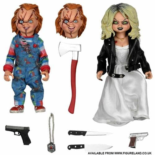 BRIDE OF CHUCKY 8 INCH SCALE CLOTHED FIGURES CHUCKY AND TIFFANY 2-PACK FROM NECA