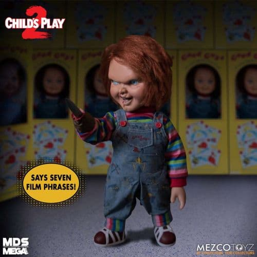 """CHILD'S PLAY 2 MENACING TALKING CHUCKY 15"""" MDS MEGA SCALE FIGURE FROM MEZCO TOYZ"""