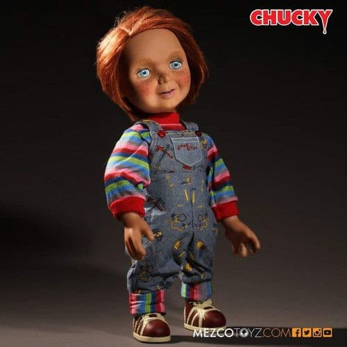 "CHILD'S PLAY CHUCKY 15"" MEGA SCALE TALKING GOOD GUYS DOLL FROM MEZCO TOYS"