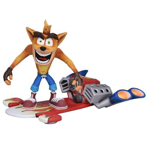 """CRASH BANDICOOT 5.5"""" DELUXE CRASH ACTION FIGURE WITH JET BOARD FROM NECA"""