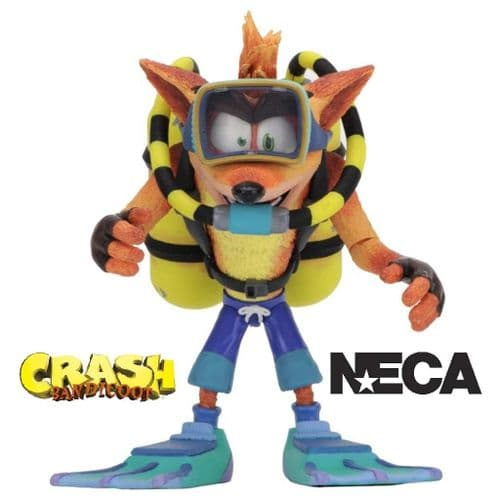 "CRASH BANDICOOT 5.5"" DELUXE SCUBA CRASH ACTION FIGURE FROM NECA"