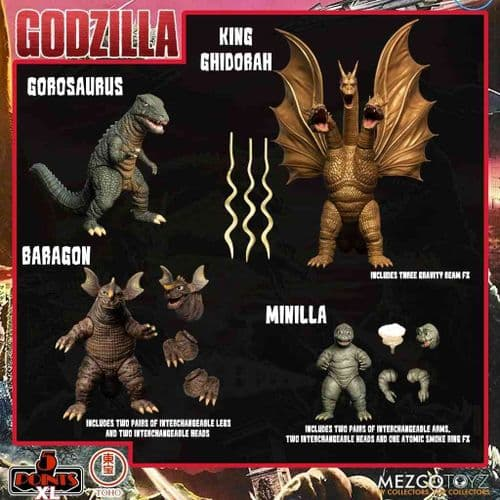 GODZILLA DESTROY ALL MONSTERS (1968) 5 POINTS XL ROUND 2 BOXED SET FROM MEZCO TOYZ