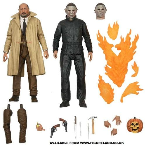 HALLOWEEN II ULTIMATE MICHAEL MYERS AND DR LOOMIS 7 INCH SCALE ACTION FIGURE 2 PACK FROM NECA