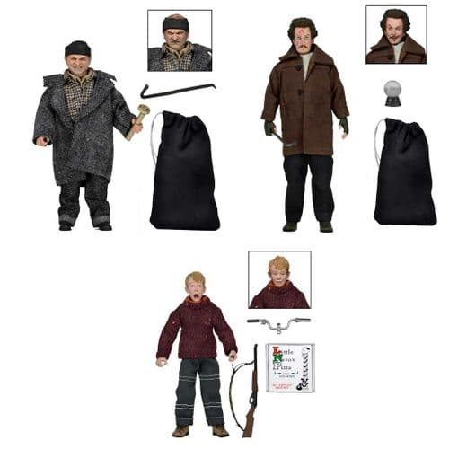 HOME ALONE CLOTHED KEVIN, HARRY & MARV ACTION FIGURES FULL SET FROM NECA