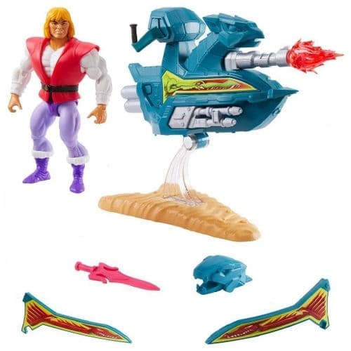MASTERS OF THE UNIVERSE ORIGINS 2020 PRINCE ADAM ACTION FIGURE WITH SKY SLED FROM MATTEL