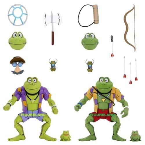 TEENAGE MUTANT NINJA TURTLES CARTOON SERIES GENGHIS AND RASPUTIN FROG 2 PACK FROM NECA