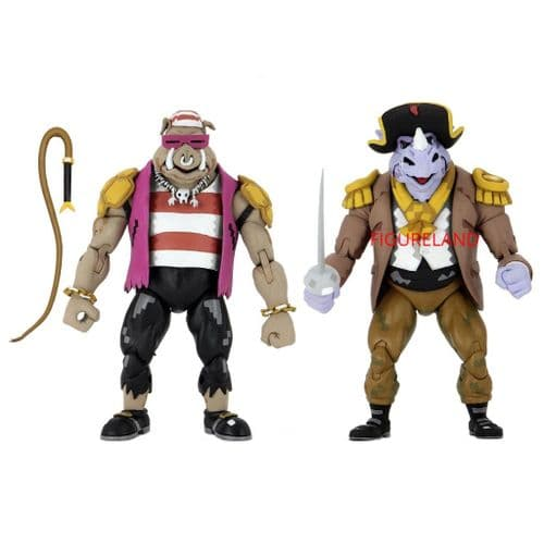 TEENAGE MUTANT NINJA TURTLES TURTLES IN TIME PIRATE BEBOP & ROCKSTEADY ACTION FIGURE 2 PK FROM NECA