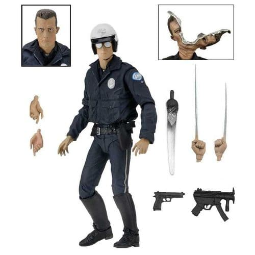 "TERMINATOR 2 ULTIMATE T-1000 MOTORCYCLE COP 7"" ACTION FIGURE FROM NECA"