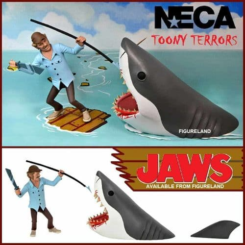 TOONY TERRORS JAWS QUINT AND SHARK ACTION FIGURE 2 PACK FROM NECA