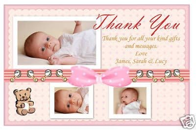 10 Personalised Baby Birth Thankyou PHOTO Cards N116