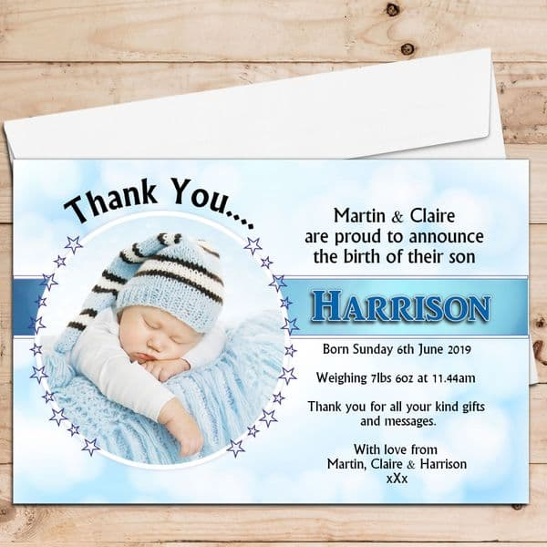 10 Personalised Baby Boy Birth Announcement Thank You Photo Cards N25