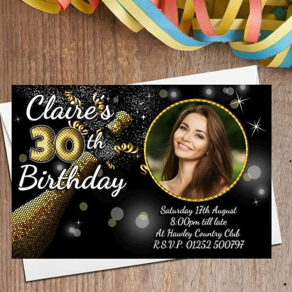 10 Personalised Black & Gold Birthday Party Invitations N208 - Any age