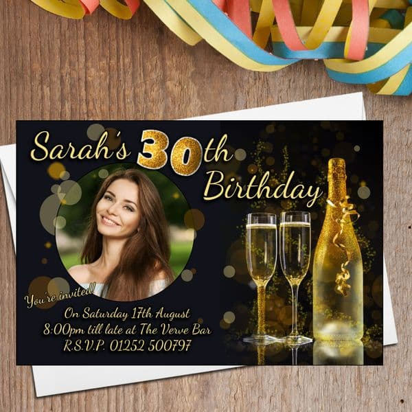 10 Personalised Black & Gold Glitter Birthday Party Invitations N206 - Any age
