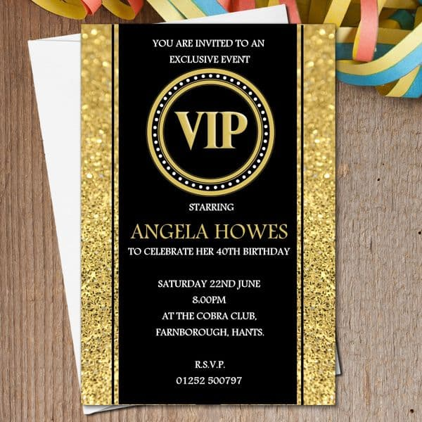 10 Personalised Black & Gold VIP Birthday Party Invitations N190 - Any age