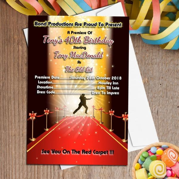10 Personalised Bond Themed Red Carpet Party Invitations N38
