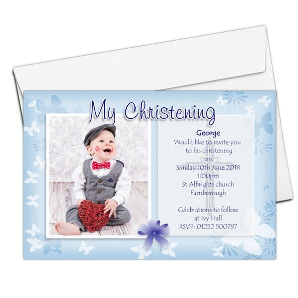 10 Personalised Boys Butterfly Christening Baptism Invitations PHOTO Invites N55