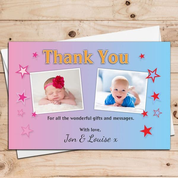 10 Personalised Boys Girls Twins Joint Christening Baptism Birthday Thank You PHOTO Cards N19
