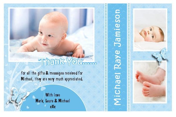 10 Personalised Christening / Baptism / Birth Thankyou PHOTO Cards N188