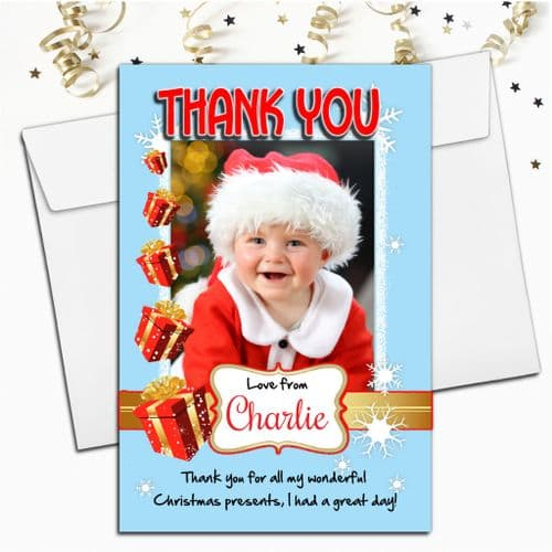 10 Personalised Christmas Xmas Thank you PHOTO Cards N41