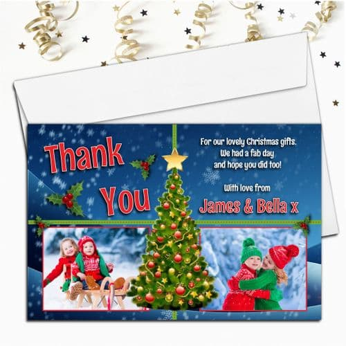 10 Personalised Christmas Xmas Tree Thank you PHOTO Cards N54