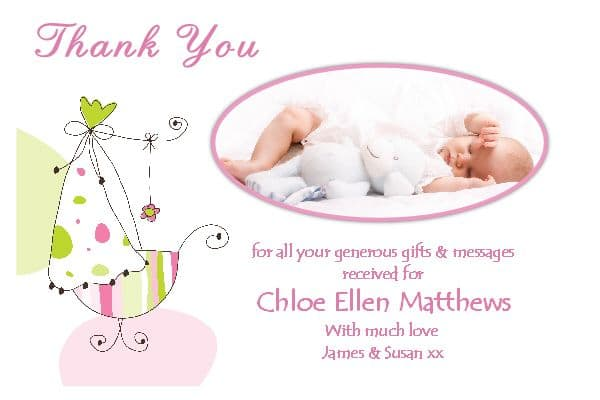 10 Personalised Elegant Baby Girl Birth Thank you PHOTO Cards N162