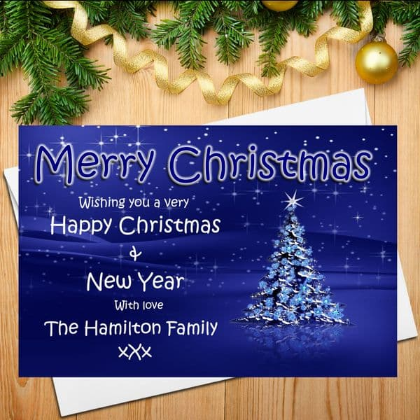 10 Personalised Family Christmas Xmas Post Cards N16