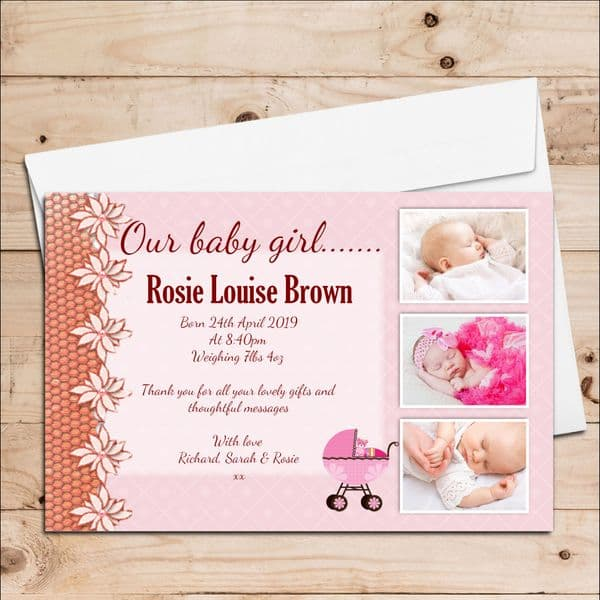 10 Personalised Girl Birth Announcement Thank You PHOTO cards N59