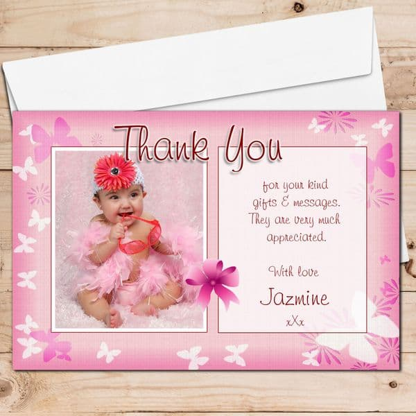 10 Personalised Girls Butterfly Birthday Thank you PHOTO Cards N134