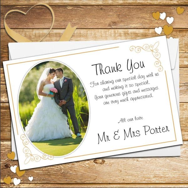 10 Personalised Gold Frame Wedding Day Thank you PHOTO cards N183