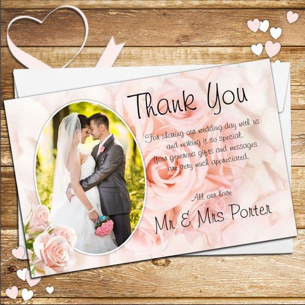 10 Personalised Pink Roses Wedding Day Thankyou PHOTO cards N182